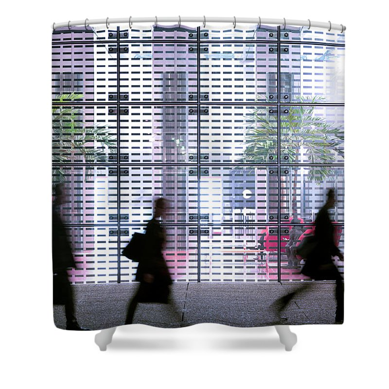 People Shower Curtain featuring the photograph Business People Passing Modern Office by Eschcollection