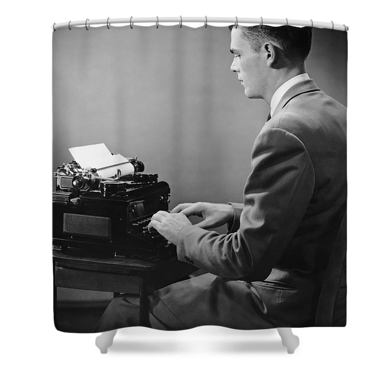 Three Quarter Length Shower Curtain featuring the photograph Businessman Inside Office Typing by George Marks