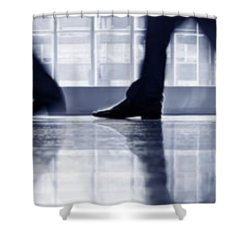 Corporate Business Shower Curtain featuring the photograph Businesspeople Walking In Lobby, Low by Poba