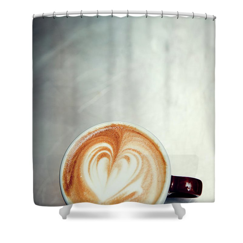 Spoon Shower Curtain featuring the photograph Caffe Macchiato Heart Shape On Brushed by Ryanjlane