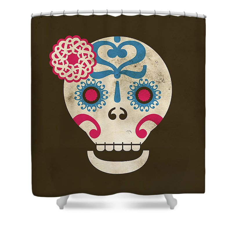 Animal Skull Shower Curtain featuring the digital art Calaca by Marco Recuero