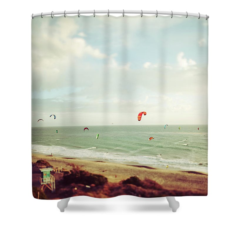 California Shower Curtain featuring the photograph California Tilt Shifted Kite Surfers by Kevinruss