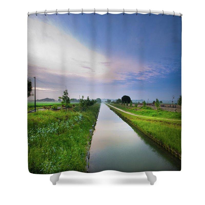 Scenics Shower Curtain featuring the photograph Canal De Lourcq - Precy Sur Marne - by © Nicolas Gaire