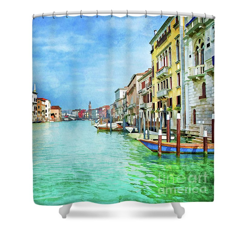 Venice Shower Curtain featuring the painting Canal Grande by Delphimages Photo Creations