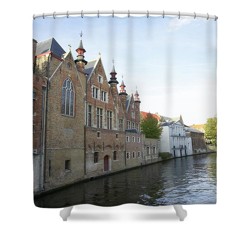 Old Town Shower Curtain featuring the photograph Canal In The Old Town Of Brugge by Christof Koepsel