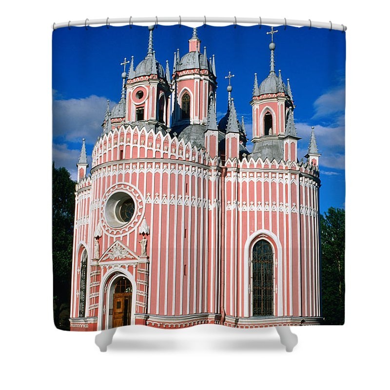 Gothic Style Shower Curtain featuring the photograph Candy Stripes Of Chesma Church, St by Lonely Planet