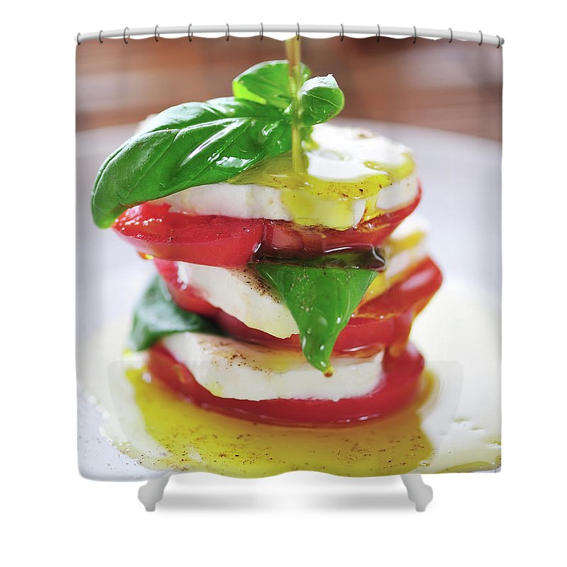 Caprese Salad Shower Curtain featuring the photograph Caprese by Tanya f