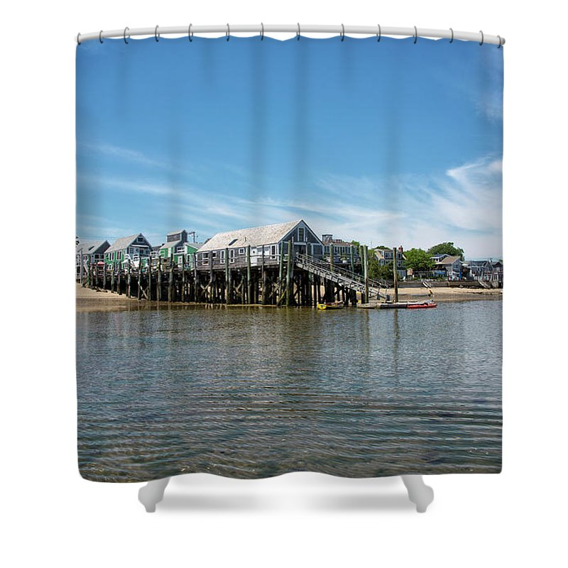 Provincetown Shower Curtain featuring the photograph Captain Jack's Wharf - Provincetown Harbor - Massachusetts by Brendan Reals
