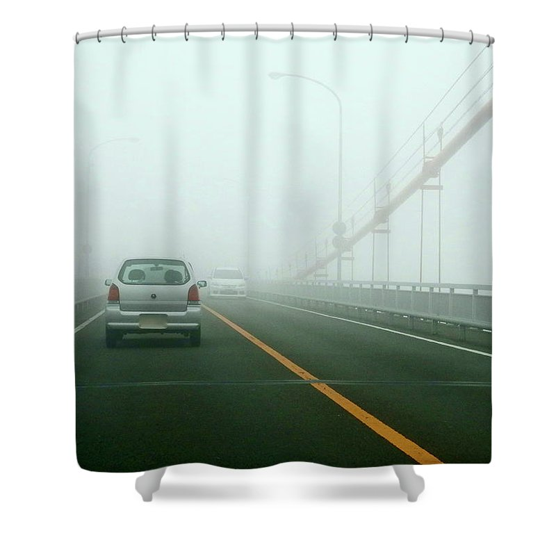 Dawn Shower Curtain featuring the photograph Car Crossing Bridge by Kurosaki San