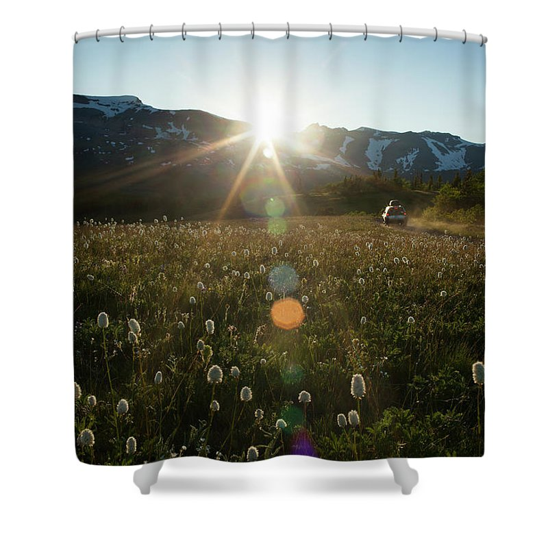 Scenics Shower Curtain featuring the photograph Car On Rural Dirt Road In Mountains At by Noah Clayton