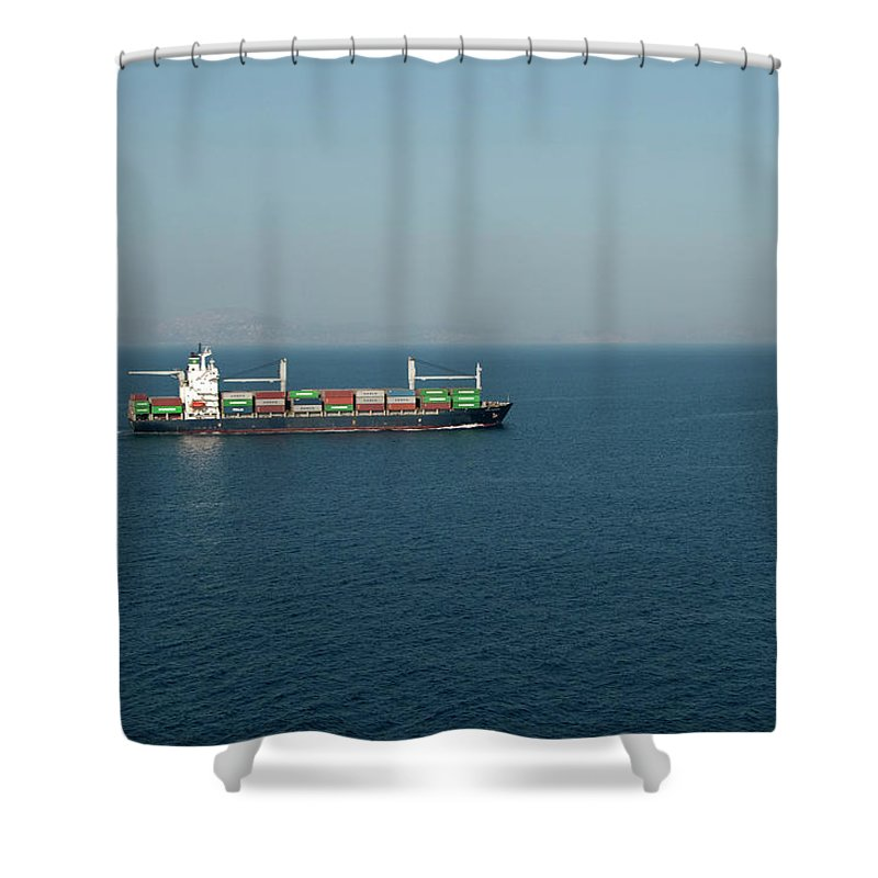 Freight Transportation Shower Curtain featuring the photograph Cargo Ship At Sea by Mitch Diamond