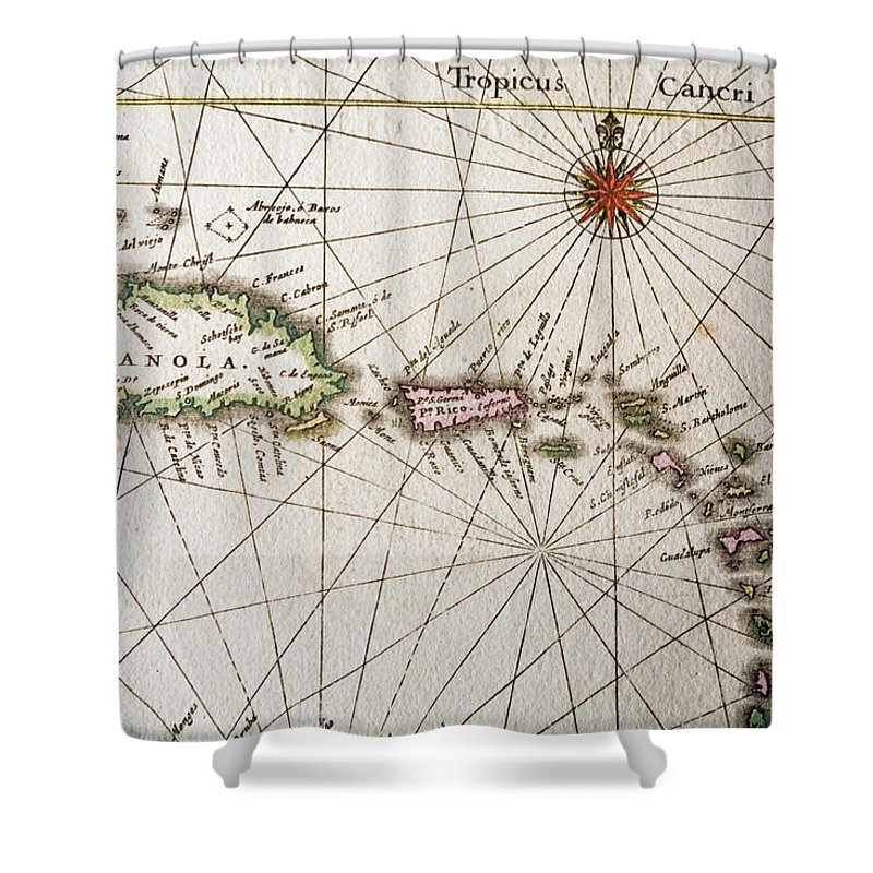 Engraving Shower Curtain featuring the digital art Carribean Islands by Goldhafen