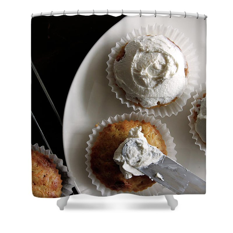 Unhealthy Eating Shower Curtain featuring the photograph Carrot Cakes by Quilie