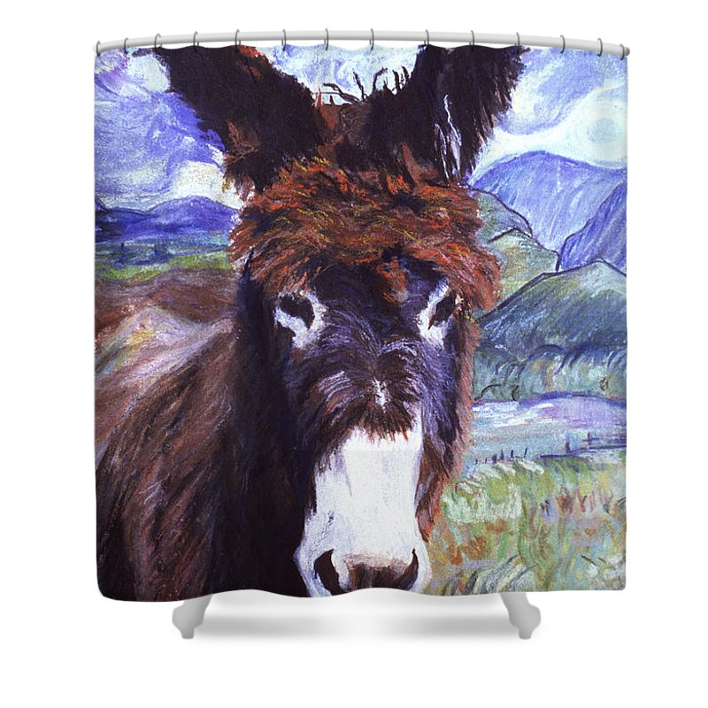 Burro Shower Curtain featuring the painting Carrot Top by Pat Saunders-White