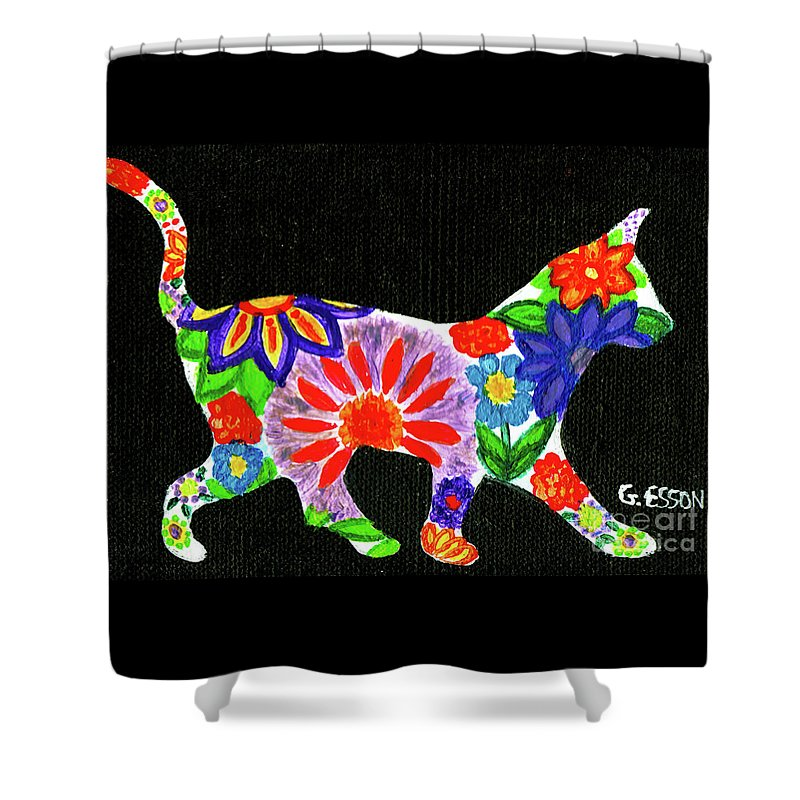 Cat Shower Curtain featuring the painting Cat In Floral Silhouette by Genevieve Esson
