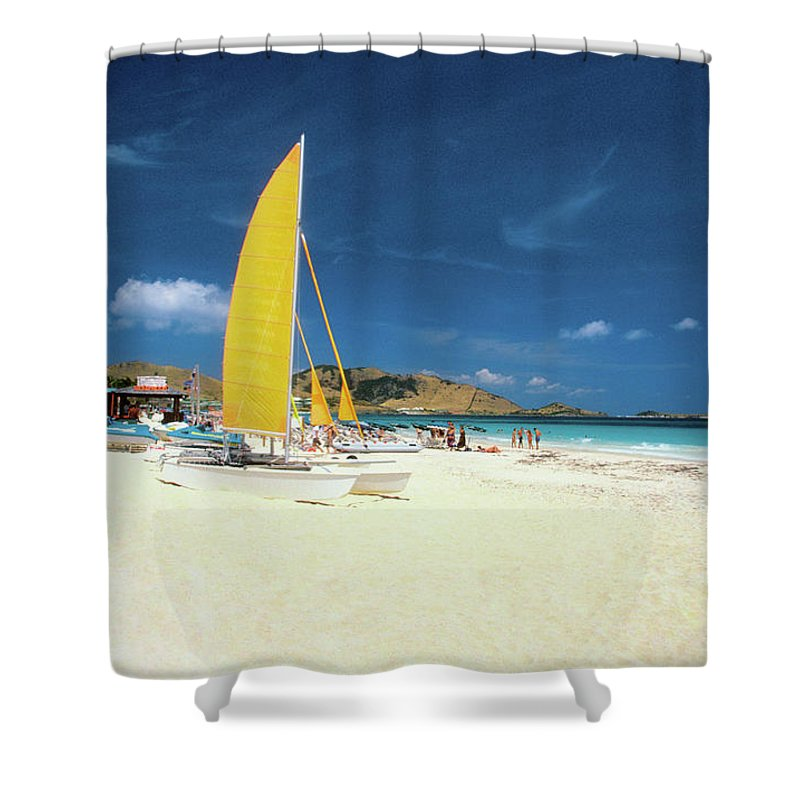 Orient Beach Shower Curtain featuring the photograph Catamarans And People On Martin Orient by Medioimages/photodisc