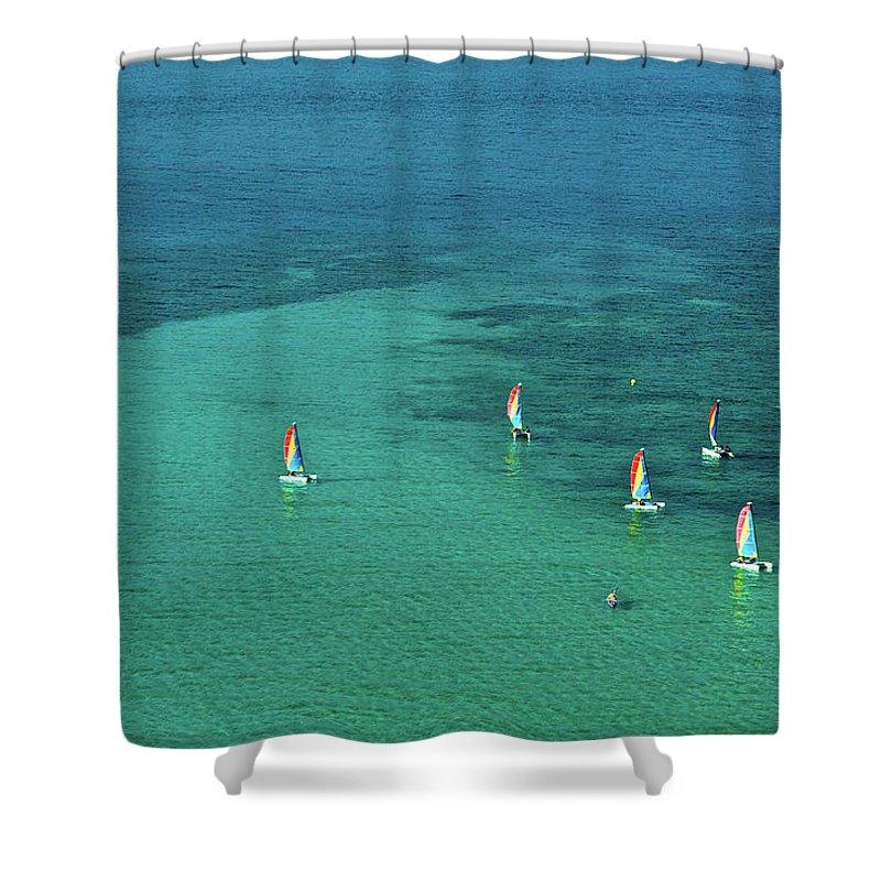 Scenics Shower Curtain featuring the photograph Catamarans, Catseye Bay, Hamilton by Robin Smith