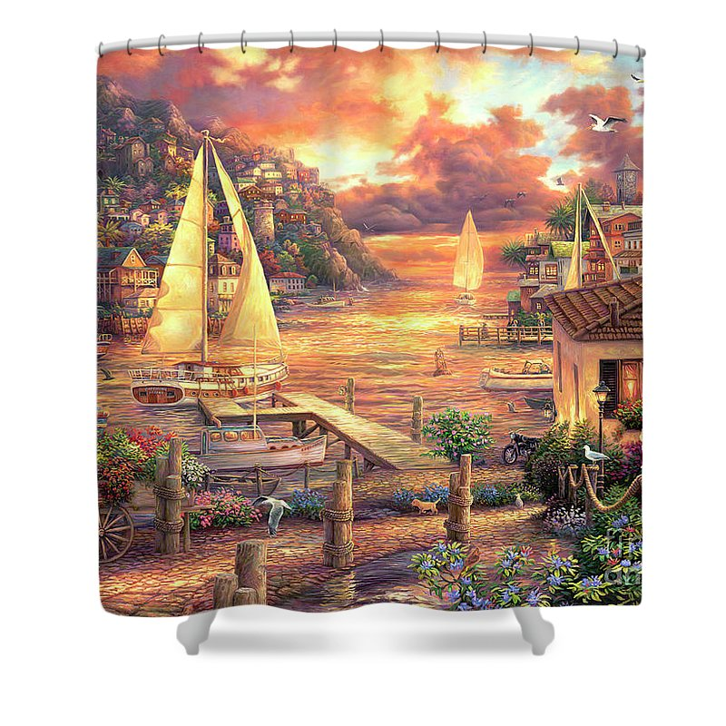 Imaginative Art Shower Curtain featuring the painting Catching Dreams by Chuck Pinson