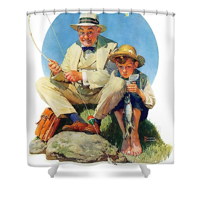 Boy Shower Curtain featuring the drawing Catching The Big One by Norman Rockwell