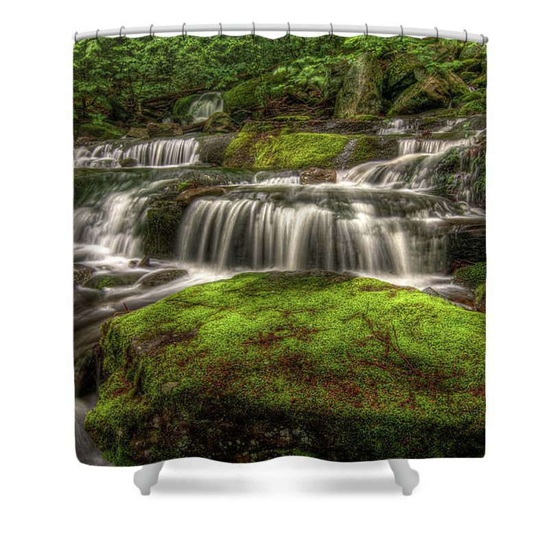 Scenics Shower Curtain featuring the photograph Catskill Waterfall by Kevin A Scherer