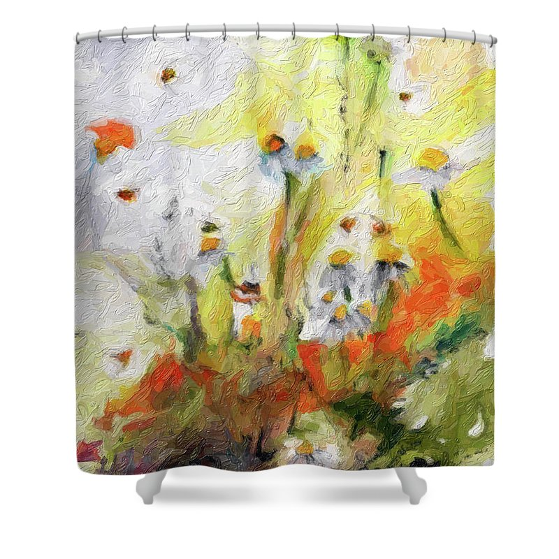 Flower Paintings Shower Curtain featuring the digital art Chamomile Flowers Digital Impressionism Art by Ginette Callaway