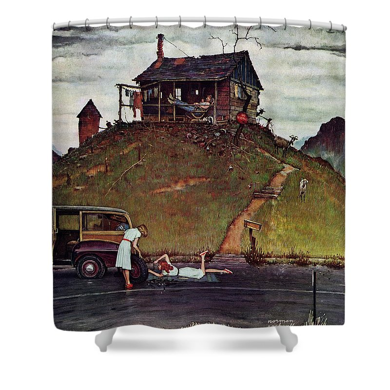 Automobiles Shower Curtain featuring the drawing Changing A Flat by Norman Rockwell