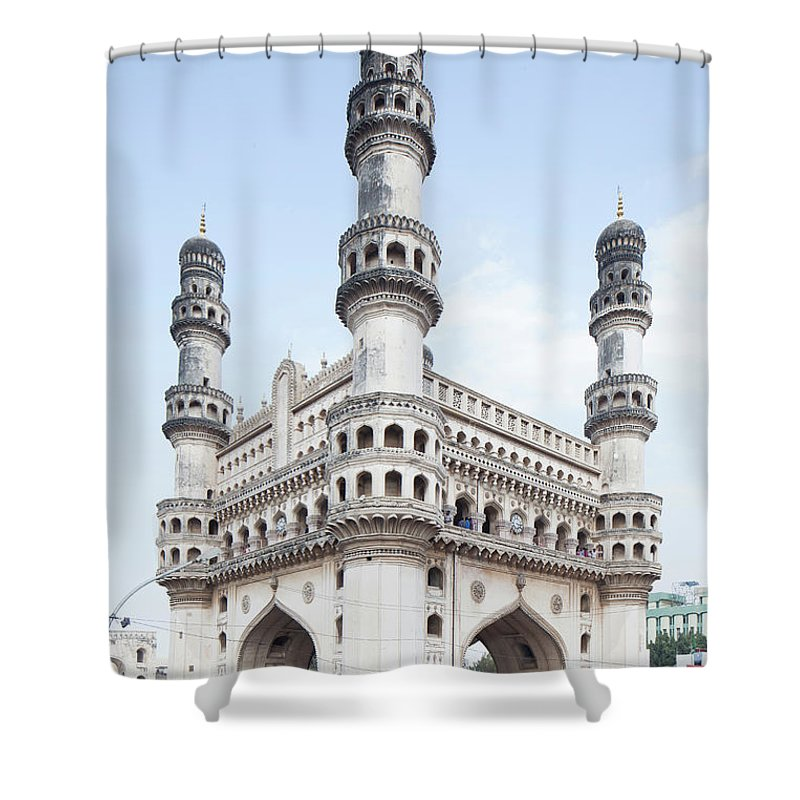 Arch Shower Curtain featuring the photograph Charminar Monument In Hyderabad by Jasper James