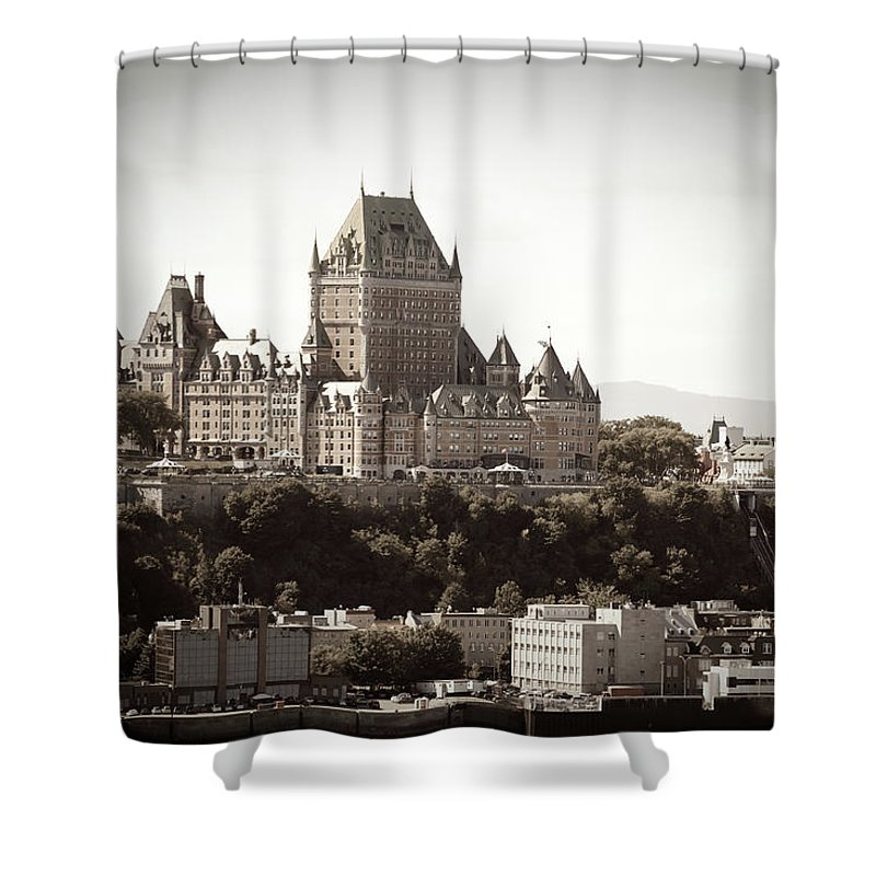 Copper Shower Curtain featuring the photograph Chateau Frontenac From Levis, Quebec by Onfokus