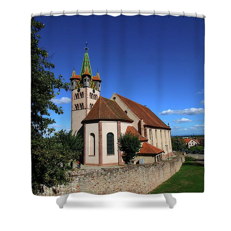 Chatenois Shower Curtain featuring the pastel Church St Georges De Chatenois by Christiane Schulze Art And Photography