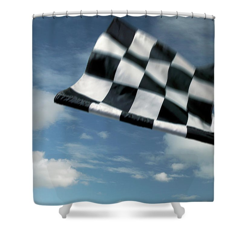 Working Shower Curtain featuring the photograph Checkered Flag by James W. Porter