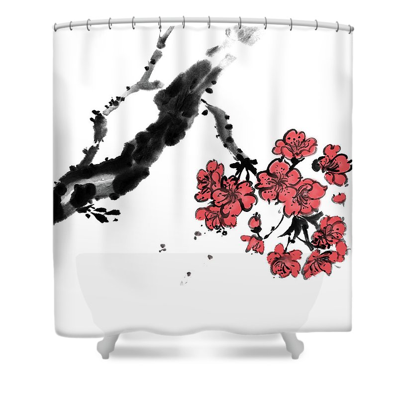 Chinese Culture Shower Curtain featuring the digital art Cherry Blossoms by Vii-photo