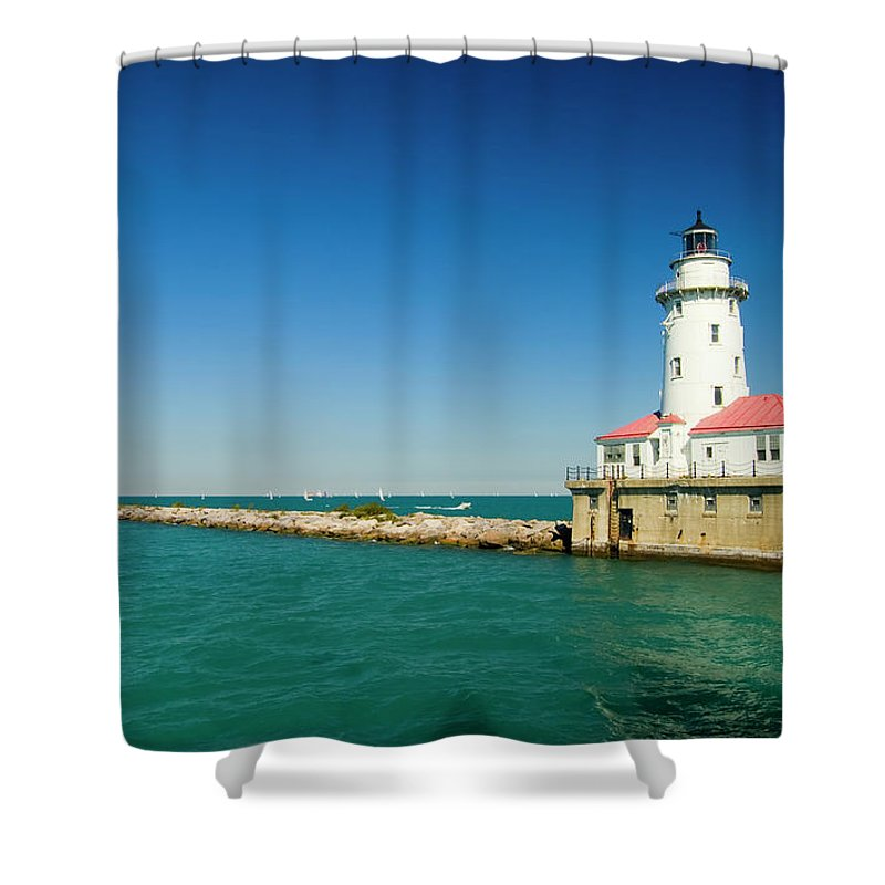 Lake Michigan Shower Curtain featuring the photograph Chicago Harbor Lighthouse by Chrisp0
