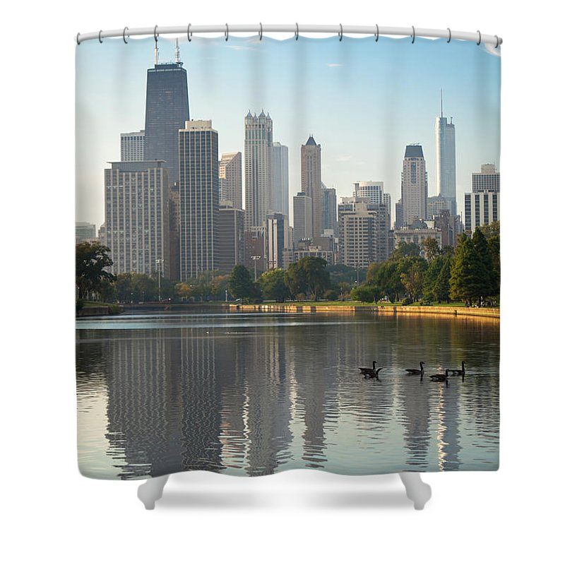 Grass Shower Curtain featuring the photograph Chicago - Lincoln Park At Sunrise by Tacojim