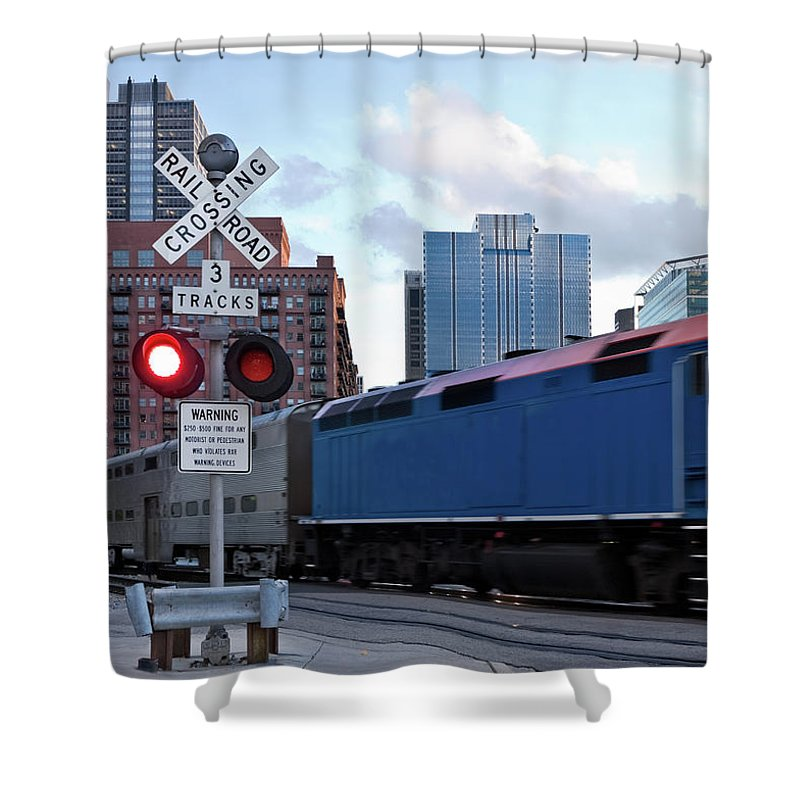 Passenger Train Shower Curtain featuring the photograph Chicago Metra Train by Helpinghandphotos