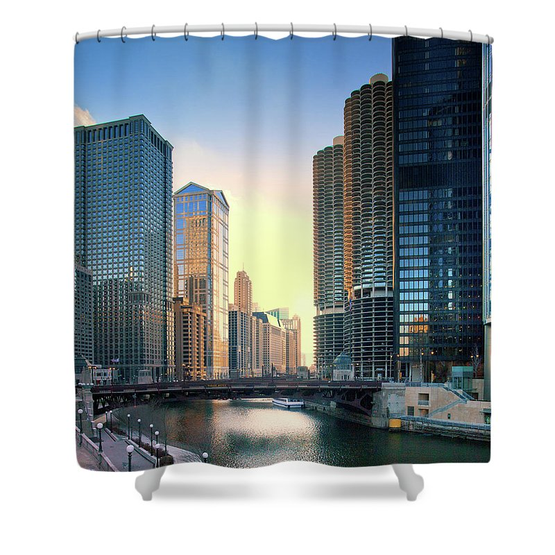 Chicago River Shower Curtain featuring the photograph Chicago River by Photography By Aurimas Adomavicius