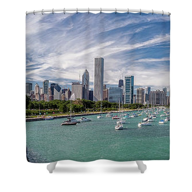 3scape Shower Curtain featuring the photograph Chicago Skyline Daytime Panoramic by Adam Romanowicz