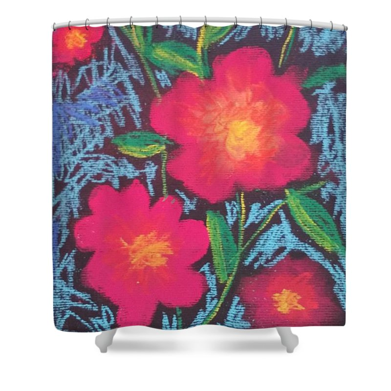 Softpastelchalks Shower Curtain featuring the drawing Child Flowers by Paola Baroni