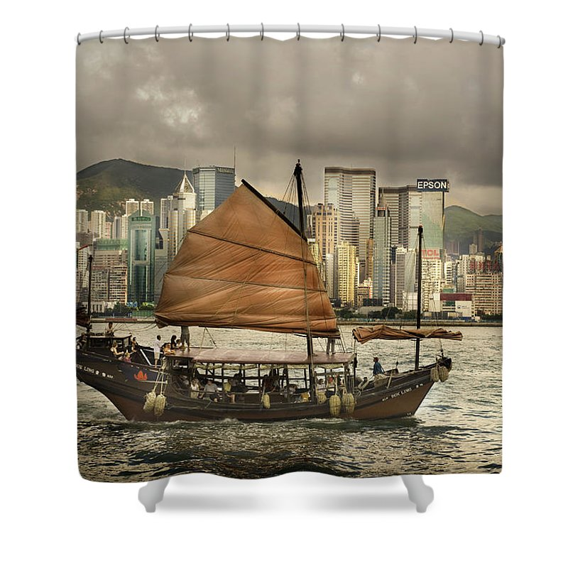 Sailboat Shower Curtain featuring the photograph China, Hong Kong, Junk Boat In Bay by Maremagnum
