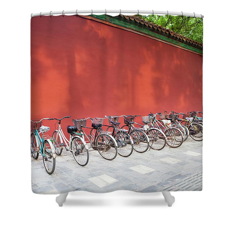 Shadow Shower Curtain featuring the photograph Chinese Bikes by Sam Diephuis