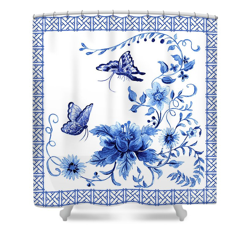 Butterflies Shower Curtain featuring the painting Chinoiserie Blue And White Pagoda With Stylized Flowers Butterflies And Chinese Chippendale Border by Audrey Jeanne Roberts