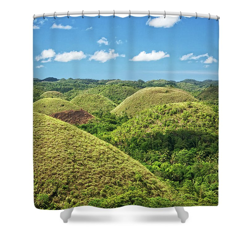 Scenics Shower Curtain featuring the photograph Chocolate Hills In Bohol by Photography By Jeremy Villasis. Philippines.