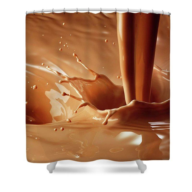 Protein Drink Shower Curtain featuring the photograph Chocolate Milk Pour And Splash by Jack Andersen