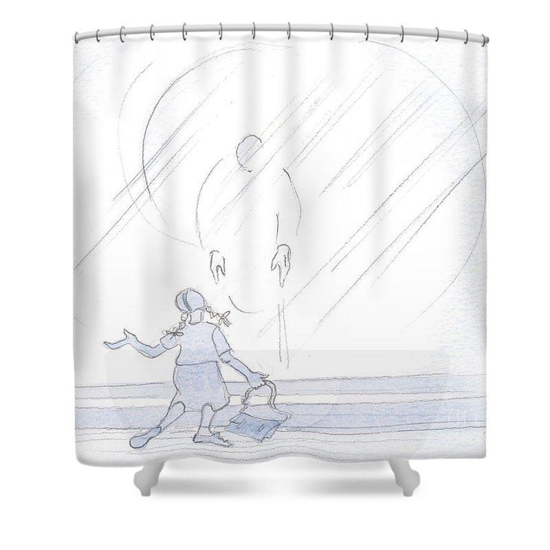 Children Shower Curtain featuring the painting Christ Is Tender Towards Us Whether We Are Greeting Him In Sadness, Or In Boisterous Joy by Elizabeth Wang