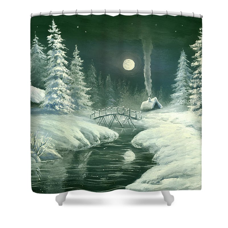 Art Shower Curtain featuring the digital art Christmas Night In The Country by Pobytov