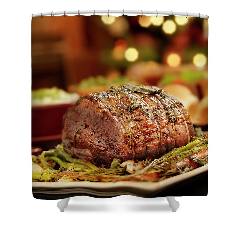 Roast Dinner Shower Curtain featuring the photograph Christmas Roast Beef Dinner by Lauripatterson