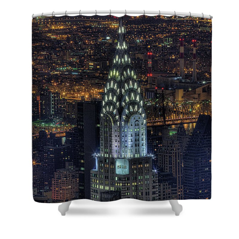 Outdoors Shower Curtain featuring the photograph Chrysler Building At Night by Jason Pierce Photography (jasonpiercephotography.com)