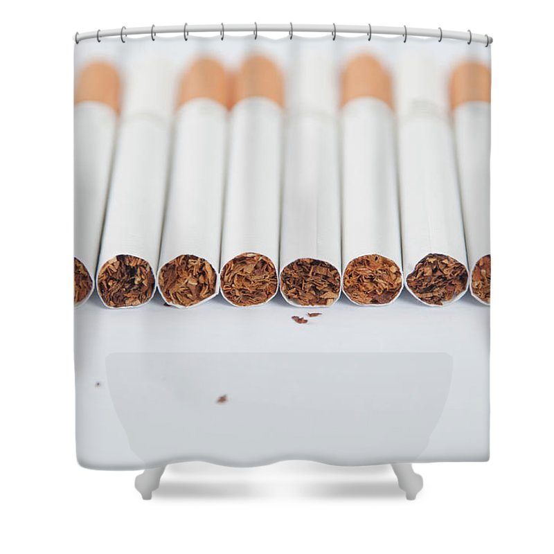 White Background Shower Curtain featuring the photograph Cigarette by Shui Ta Shan