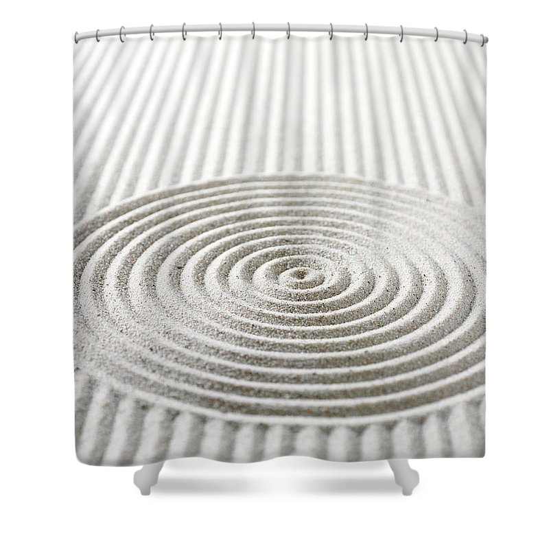 In A Row Shower Curtain featuring the photograph Circles And Lines In Sand by Wragg