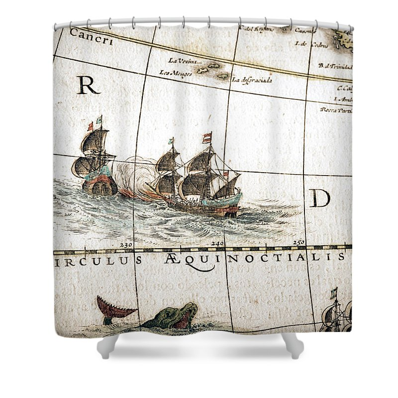 Engraving Shower Curtain featuring the digital art Circulus Aequinoctalis, Historical Map by Goldhafen