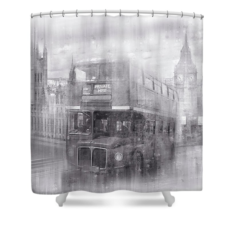 British Shower Curtain featuring the photograph City-art London Westminster Collage Black And White by Melanie Viola